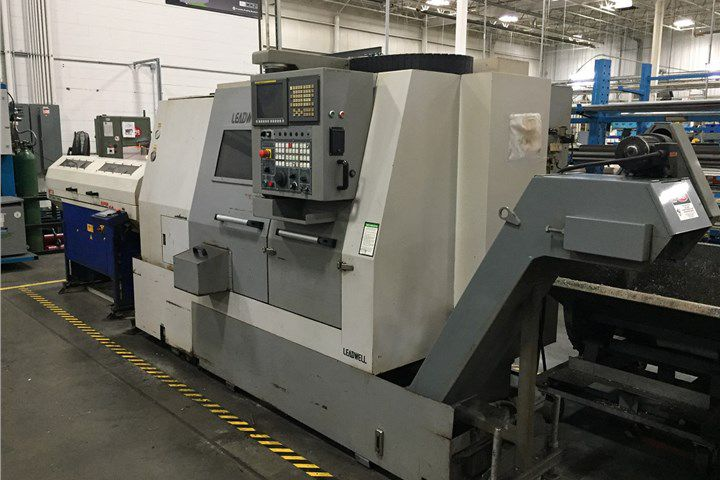 Leadwell Fanuc 0iT CNC Control 35-3500 RPM T-8 2-Axis Slant Bed