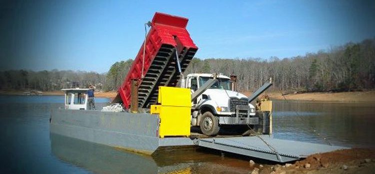 40-foot Work Barge with Side Walls and Ramp