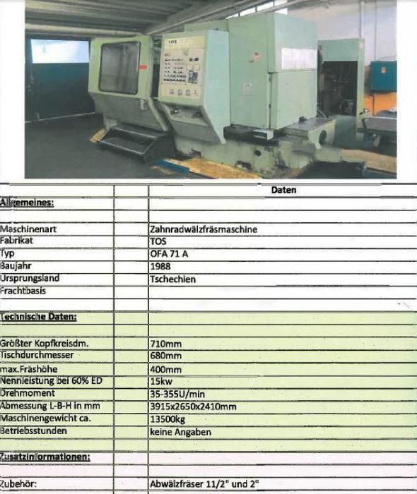 TOS OFA 71 A Variable Gear machinery - Gear milling machines