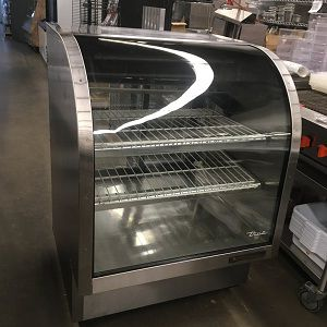 """True 36"""" Stainless Steel Curved Glass Refrigerated Pastry and Deli Case"""