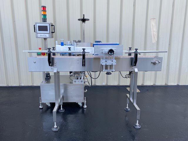 LabelOn Pressure Sensitive Labeler with Wrap Station & Conveyor