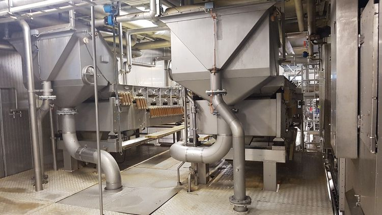 2  French fries line, Cutting part of and separating French fries line, 2 lines of 7 ton net /hour
