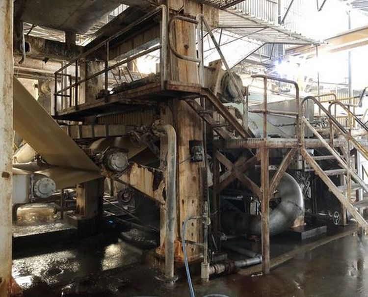 Crescent Former Tissue Paper machine, 700m/ mn 2360 mm at pope reel 15.5 gsm to 40 gsm 30 TPD