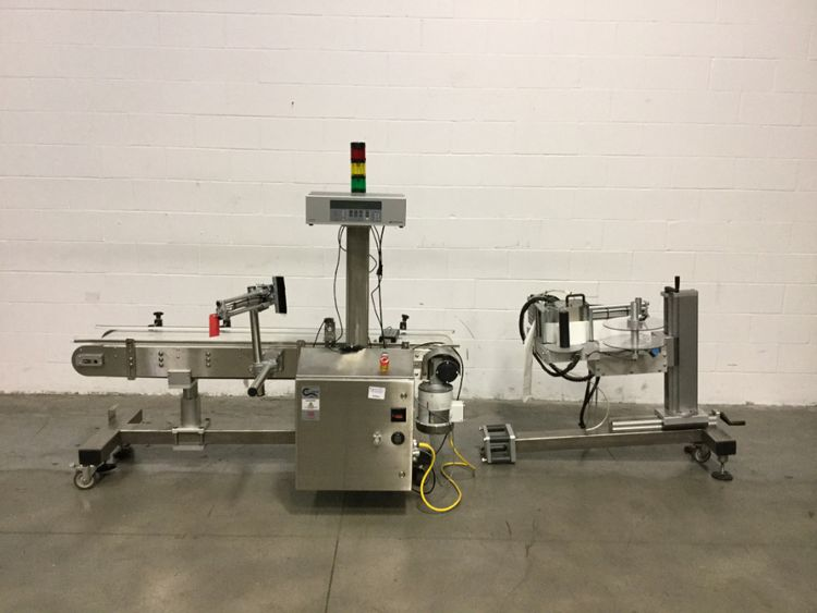 Domino T60-R-305-162-12 labeler with conveyor