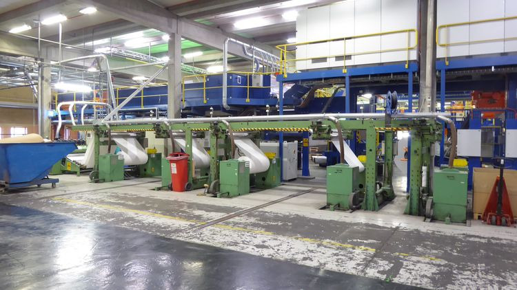 ECH Will, Meco-Pak, Wrapmatic 1150 mm Complete  A4  synchro sheeter cut size line  type  SLK 115, 250m/ mn incl. 5- reels Unwinders, Wrapping, Cartoniser, Palettiser, visible in operation