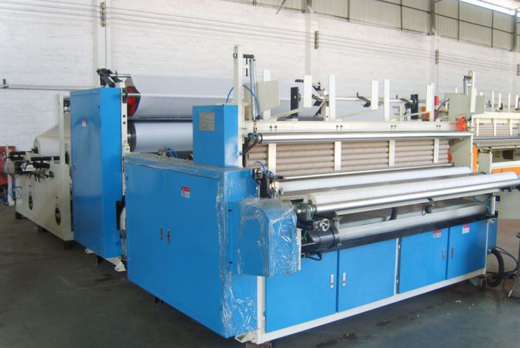 MM, Taiwan Brand auto. start/ stop 2.200 mm tissue rewinder with lamination for TR& KTW of 2011, still in operation