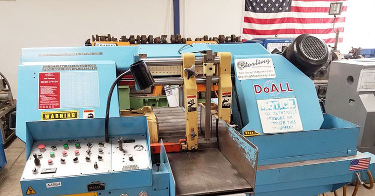 DoAll C-410A Sawing machine PLC Controlled Fully Automatic & Hydraulically Actuated Bar Feed with 8 Positions