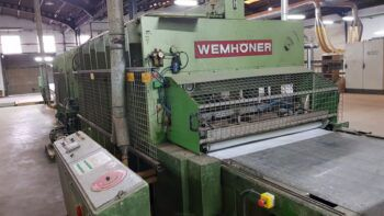 Wemhoner Veneered board pressing line with press