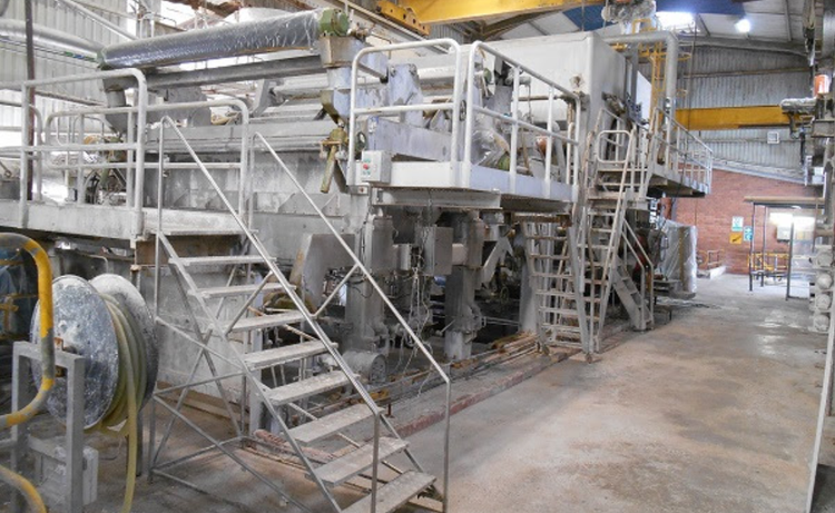 Toscotec Crescent former tissue paper machine 2650mm trim 14-35gsm 32 TPD max, superb condition incl. deink unit of 2003 !