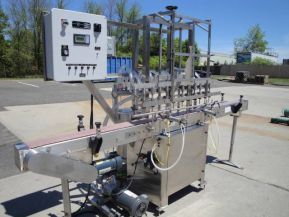 Packaging Dynamics SLA-8, TWELVE SPOUT STAINLESS STEEL FULLY AUTOMATIC STRAIGHT LINE LIQUID FILLING MACHINE