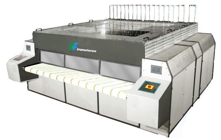 3 Transferon New Laundry Ironer Two (2) Rolls, 1200 x 3300 mm, Oil Heated, Springpress and Nomex padding