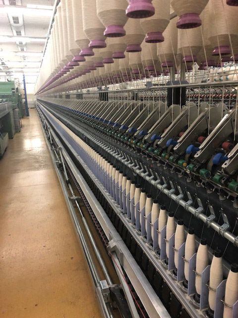 Zinser 351 Ring frames linked with autoconer