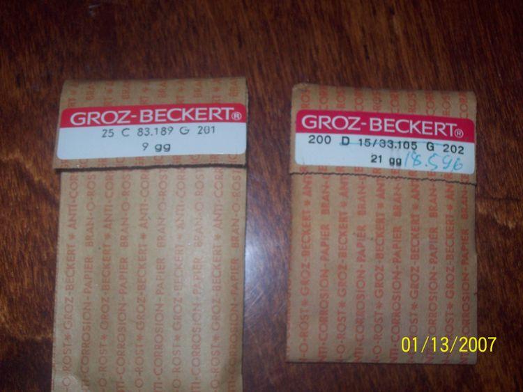 Groz Beckert Needles C 83.189 G 201 and  D15/33.105 G 202
