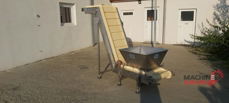 Others CMA Costruzioni Meccaniche Stainless steel conveyor, swan neck with squeegees, walls and hopper