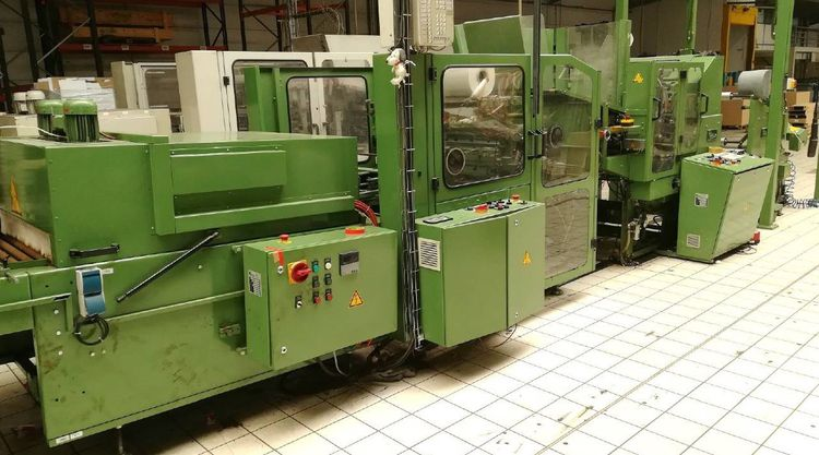 2 Moller RW800S +RP800S + SST800 – Gift Roll winding machine with wrapper and labeller