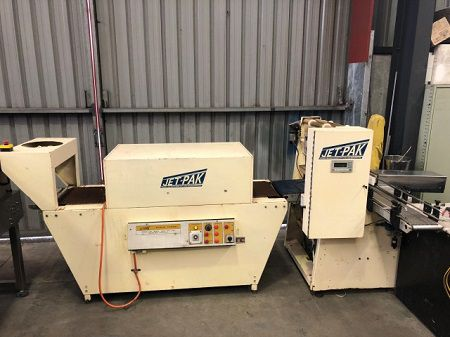 Jetpak 590mm W x 310mm H. O'all dims 4000mm x 1700mm x 1520mm. Bundle Wrapper and Shrink Tunnel