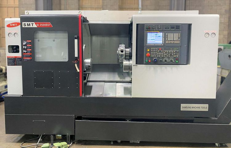 Samsung Fanuc 0i-TF CNC Control 4500 rpm SL-2500BSY CNC TURNING CENTER with LIVE TOOLING and SUB-SPINDLE 3 Axis